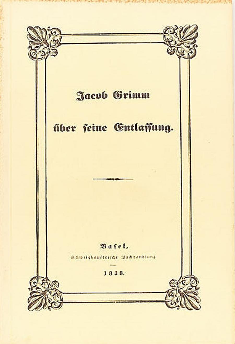 Jacob Grimm:Über seine Entlassung