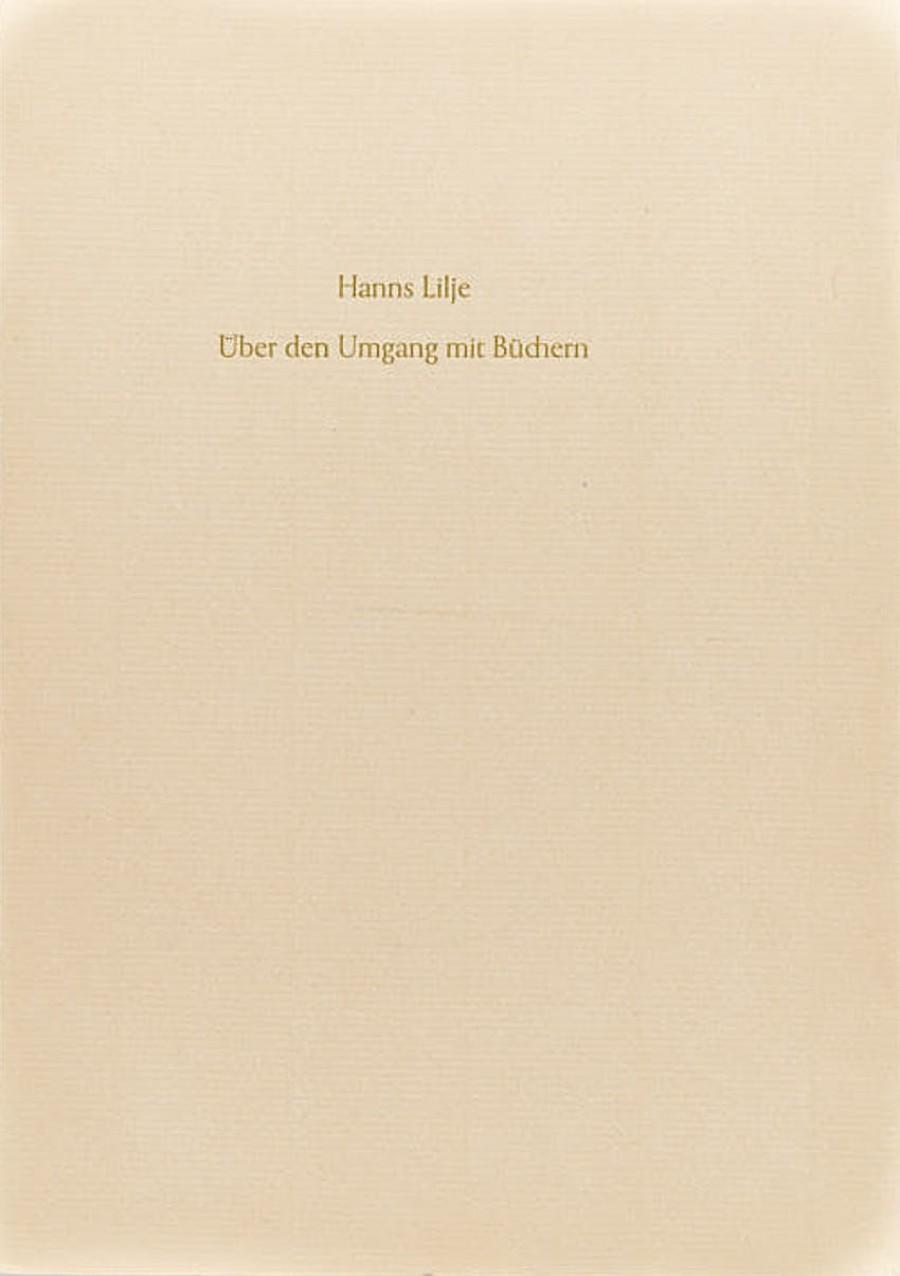 Hanns Lilje:Über den Umgang mit Büchern