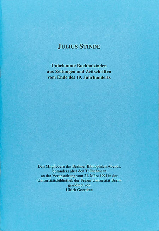 Julius Stinde: Unbekannte Bucholziaden aus Zeitungen und Zeitschriften vom Ende des 19. Jh.
