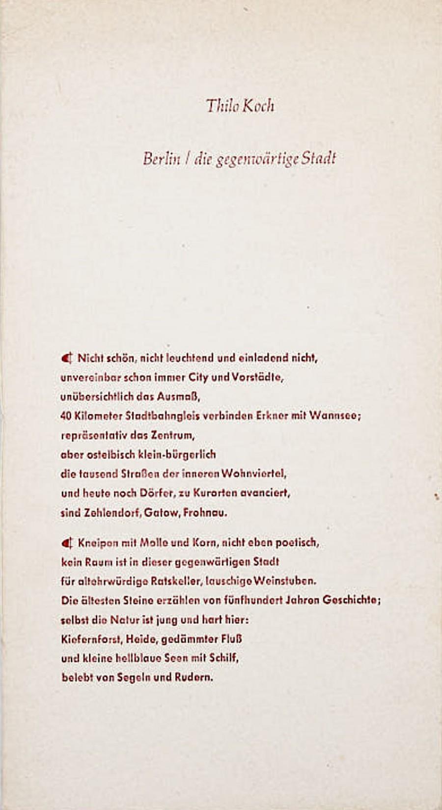 Thilo Koch:Berlin – die gegenwärtige Stadt