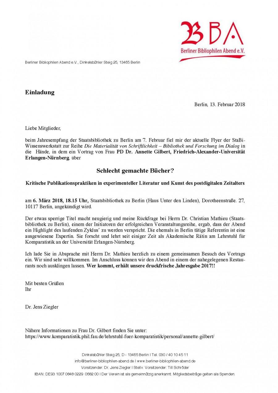 "Vortrag: Frau PD Dr. Annette Gilbert ""Schlecht gemachte Bücher?"""