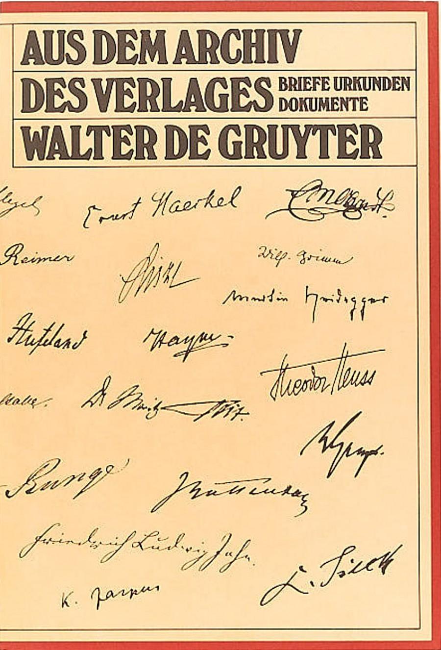 Aus dem Archiv des Verlages Walter de Gruyter. Briefe, Urkunden, Dokument